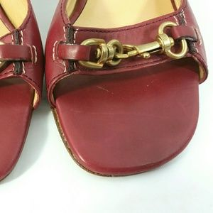 Coach Shoes - Coach Fresno Womens Red Leather Heels Shoes Mules